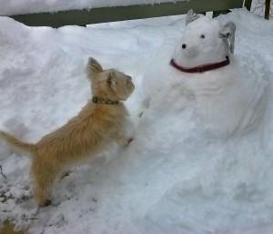 Mamie with Snow Dog