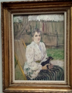 """Henri de Toulouse-Lautrec. """"Lady with a Dog"""", oil on cardboard, 1891"""