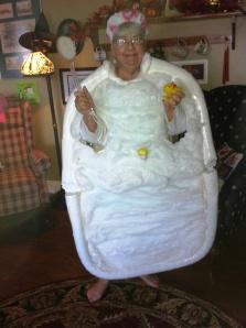 Pat's Halloween Costume - A Bubble Bath Tub