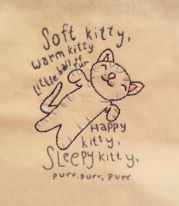 """Soft Kitty"" embroidery"