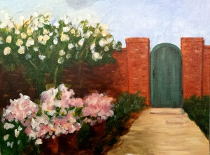Class Demo Painting of Flowered Wall