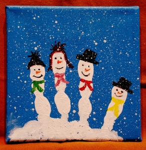 Snowman Family on canvas
