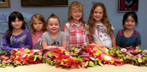 Girl Scouts with completed blankets
