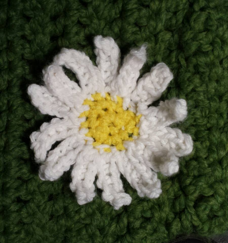Crocheted dog sweater a place for learning close up of the daisy on daisys sweater izmirmasajfo
