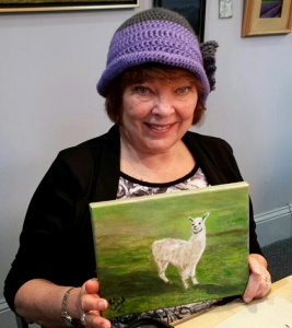 Kathy with her Llama painting in Wednesday morning class