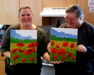 Robin and Carla Paint Poppies