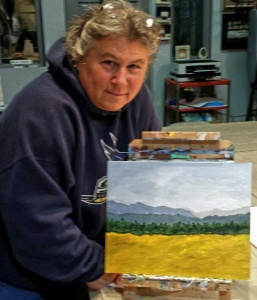 Leah's first painting in the Thursday evening class