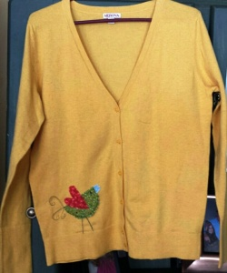Appliqued Sweater -Bird