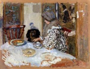 "Pierre Bonnard, ""Woman and Dog at Table"", oil on cardboard, 1908"