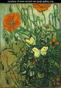 Van Gogh, Coquelicots et papillons, 1890