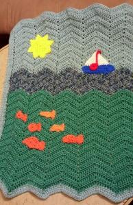 Sea theme baby blanket example of zig-zag