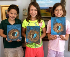 Kids paint Bird's Nests