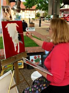 Working on a Pet Portrait at Taste of the Town