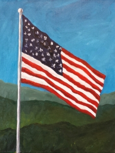 Flag with Mountain Background