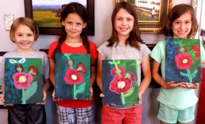 Kids Hollyhock Paintings