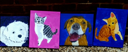 Close up of  pet paintings