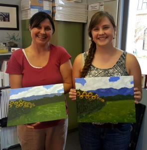 Mother-Daughter Time Painting Sunflower Field