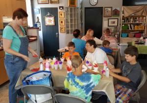 Tammy teaching Lotus Lanterns