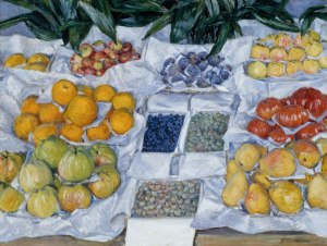 Gustave Caillebotte, Fruit Displayed on a Stand, c. 1881–1882, oil on canvas, Museum of Fine Arts, Boston