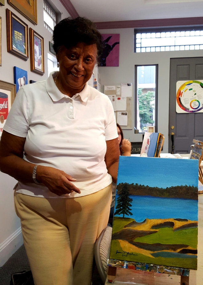 Jean with golf course