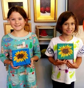 Charlotte & Sophia Paint Sunflowers