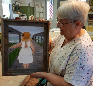 Pat with Painting of Katie