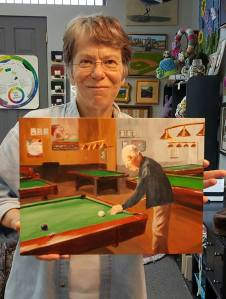 Gretchen Painting of Father-in-Law Shooting Pool