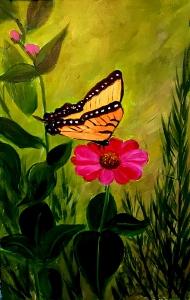 Butterfly on Gerber Daisy