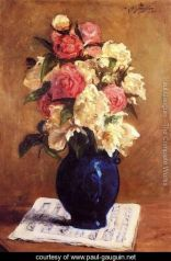 Gauguin Boquet-Of-Peonies-On-A-Musical-Score