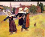 Gauguin Breton-Girls-Dancing-Aka-Dancing-A-Round-In-The-Haystacks