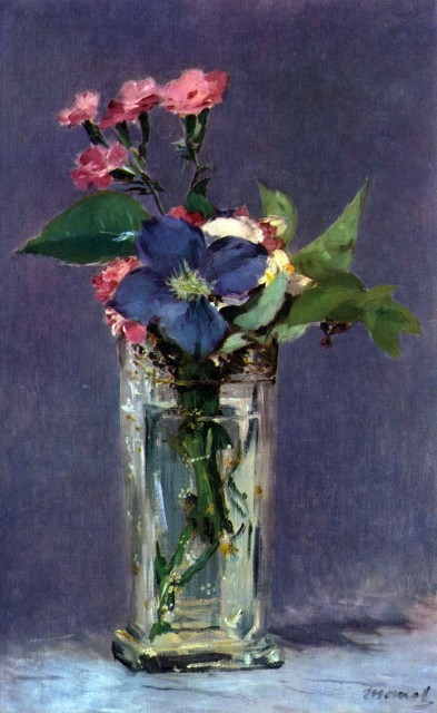 Manet - Carnations and Clematis in a Crystal Vase