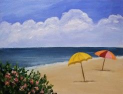 Beach with 2 Umbrellas