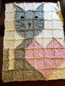 Cat with Heart Rag Quilt