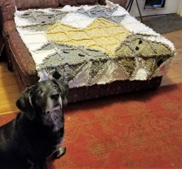 Dog with Heart Rag Quilt with Jed